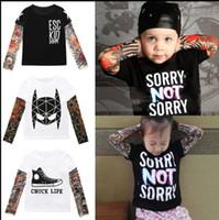 Wholesale tattoo clothes fashion - Boys Girls Tattoo Sleeve T shirt Children Kids Clothes Boys T shirt Splicing Body Art Hip hop Clothing for kids KKA4801