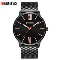 черное стальное запястье оптовых-CURREN  2018 tops Simple Minimalism  Quartz wrist Watches for men relogio masculino black / gold stainless steel 8238