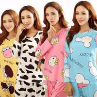 Wholesale cartoon pajamas pink - 19 Colors Women Pajamas Suits Spring Autumn Cartoon Female Long-sleeve Pajama Pants Milk Silk Pajamas Suits tracksuit
