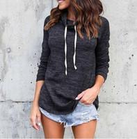 Wholesale Casual European Style Hoodie - 2018 New Women Hoodies Casual Long Sleeve Round Neck Hoodies Sweatshirt European Style Apparel Pullover Sudaderas Mujer