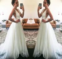 Wholesale modern plain dress - Gorgeous Beach Wedding Dresses 2018 New Sleeveless V Neck A Line Zipper Back Formal Wedding Gown Simple Plain Bridal Dresses Custom Made