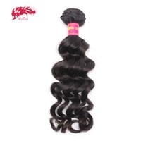 ali cabello humano al por mayor-Ali Queen Hair Products Brasileño de la Virgen Pelo Natural Wave Bundles Natural Color negro 100% tejido humano