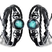 zodiac sign bracelets großhandel-18Bre Liebhaber Einfache Mode männlich weiblich Charme Armband Schmuck 12 Sternzeichen schwarz Gallenstein Punk Casual Persönlichkeit Armband