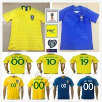 Wholesale Brazil Soccer - 2018 World Cup Brazil Soccer Jersey 3 T.SILVA 10 NEYMAR JR 10 PELE 6 MARCELO RONALDINHO 11 OSCAR 22 COUTONHO Football Shirt