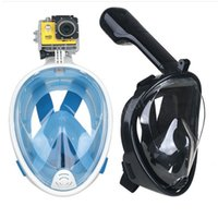 Wholesale mask for underwater - 2018 Full Face Snorkeling Mask Set Scuba Diving Underwater Swimming Training Scuba Mergulho Snorkeling Mask For Gopro Camera