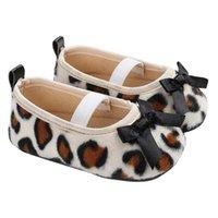 zapatos princesa impreso al por mayor-Zapatos de estampado de leopardo para niñas bebés de la princesa Velvet elástico primeros caminantes