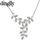оливковый лист серебристый оптовых-DINGLLY Elegant Olive Branch Chokers Necklaces Silver Color Leaf Pendant  Necklaces Romantic Gifts Jewelry for Women