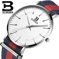 роскошные ультратонкие часы оптовых-Швейцария BINGER мужские часы люксовый бренд ультратонкий limited edition водонепроницаемый влюбленных кварцевые наручные часы B-3050M-11