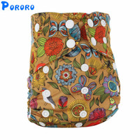 Wholesale cloth diaper print insert online - 1 Reusable AIO Cloth Diapers Washable All in One Print Baby Cloth Diapers Waterproof Nappy With Bamboo Insert
