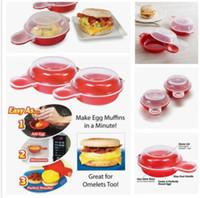 Wholesale pancake box - Easy Eggwich Microwave Egg Cookers Pan Set Of 2 Per Box With Retail Packing Microwave Cheese Egg Maker Egg Hamburg Pancake Maker KKA4522