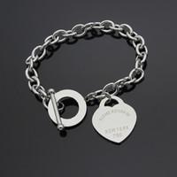 mücevherat için paslanmaz çelik etiketler toptan satış-Lüks Takı Marka Pulseira Paslanmaz Çelik aşk T Bilezik Bileklik Gül Altın Kaplama Kalp Sonsuza Aşk Etiketi Bileklik Takı Kadınlar Için