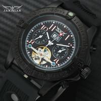 relojes de pulsera de línea secundaria al por mayor-Relojes mecánicos JARAGAR hombres negro correa de caucho diseño 2 Sub-diales Mostrar reloj de pulsera de deporte de moda de la manera