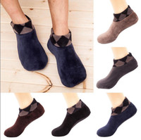 Wholesale men beds for sale - Men Floor Indoor Socks Winter Warm Thicken Velvet Indoor Bed Sock Boat Socks Non Slip Soft Slipper Socks OOA3846