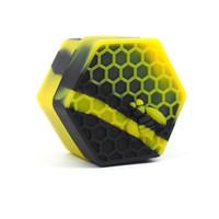 contenedor de aceite de silicona al por mayor-Color rico honeybee hexagon Silicone Container Jars Contenedor de silicona Contenedor para Oil Crumble Honey Wax Silicone Jars Dab
