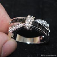 ingrosso le pietre nere squillano le donne-Fashion Black Sapphire Cubic Zirconia Gem Stone Gioielli femminili 925 Sterling Silver Crossed Wedding Anelli di fidanzamento per le donne