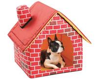 grandes cercas de cães venda por atacado-Cama portátil home dobrável da casa da casa do cão do gato do filhote de cachorro do animal de estimação do projeto do tijolo apropriada para todas as estações