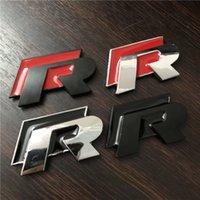 ingrosso 3d adesivo auto cromato-DHL Auto-styling di alta qualità 3D R Chrome Emblems per VW Golf 7 Nero e Rosso Car Badge Stickers Adesivi Bumper AUTO Accessori