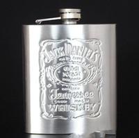 conjunto de embudo de matraz al por mayor-Frasco de la cadera de 7 oz con embudo frasco de cadera de acero inoxidable portátil Frascos de frasco de cerveza de vino botella de whisky alcohol