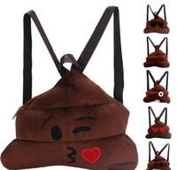 ingrosso personaggio del fumetto peluche-Vivid Poo Emoji Zaino 3D Character Travel Softback Ragazzi Ragazze Mochila Harajuku Morbida borsa morbida con coulisse