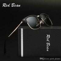 Wholesale Titanium Glasses Frames For Men - Fashion Red Sunglasses Vintage Club for Men Women Brand Design Master Sun Glasses 1 Bain Mirror Gafas de sol with cases