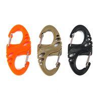 schwarzer karabiner großhandel-Outdoor Gadgets schwarz orrange Kunststoff S-Biner Clip für Paracord Armband Karabiner S Keychain Schlüsselbund Bulk-Paket