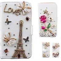 couro caso 3d venda por atacado-Para o iphone 8 plus para iphone x estojo de couro de cristal virar 3d strass diamante stand wallet case