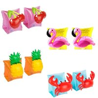 Wholesale inflatable infant swim ring resale online - Children Swimming Arm Circle Flamingo Crab Pineapple Cherry Inflatable Outdoor Infant Float Seat Sleeves Swim Ring pt WW