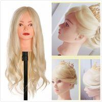 продажа кудрей человеческих волос оптовых-Горячая продажа 40% настоящих человеческих волос 60 см. Обучающая головка для салона Парикмахерские манекены Куклы профессиональной головы могут быть свернуты