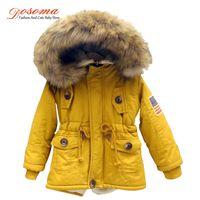 Wholesale Korean Girl Down Jacket - 2-8T girls boys coats and jackets 2017 autumn winter Korean boys USA flag hooded coat thick cotton warmer kids winter coat girls