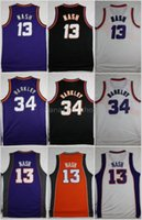 Throwback 13 Steve Nash 34 Charles Barkley Maglia da basket cucita Retro Mens Steve Nash Charles Barkley Viola Nero Magliette da basket