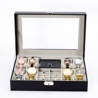 Wholesale Glass Ring Display Case - Jewelry Box 8 Slot Watch Box Jewelry Necklace Ring Organizer Lockable Jewelry Display Case With Real Glass Top Black PU Leather Box H255F