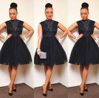 robe de satin arabe achat en gros de-Aso Ebi Style Robe De Cocktail Africain Noir Tulle Dentelle Partie De Bal 2019 Nouveaux Plis Arabian Robes Robes