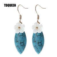 pendientes de moda al por mayor-TDQUEEN Piedra Natural Pendientes de Gota Azul y Verde Color Tendencia Estilo Moda Coreana Joyas Flor Flor Pendientes