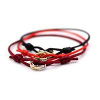 brazaletes de cuerda al por mayor-Pulseras clásicas del encanto Cadena roja Hecho a mano Macramé Cuerda Brazaletes Cubo Micro tres círculos Circón amor Pulsera Mujer Hombre Joyería