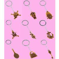 anker schlüsselanhänger edelstahl großhandel-Edelstahl Schlüsselanhänger Acryl Anhänger Mix 9 Stile Schädel Knochen Schwert Anker Tennisschläger Key Lock Keychain Schlüsselanhänger Zubehör (JK017)