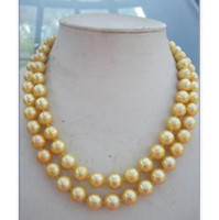 """yellow sea pearl Australia - new Natural AAA 10-11mm south sea gold pearl necklace 14K yellow golden clasp 35"""""""