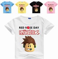 karıştır tişört toptan satış-Mix 35 Renkler Çocuk Erkek Kız ROBLOX baskı karikatür tee Gömlek casual dibe gömlek Tişört kazak cadılar bayramı Cosplay kostümleri Bez