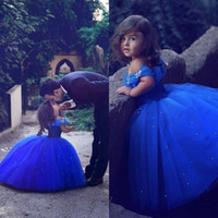 robes de fête pour les filles gonflées achat en gros de-Dit Mhamad Royal Blue Princess Wedding Girl robes de fleur Puffy Tutu Cristaux brillants 2019 Toddler Little Girls Pageant Communion Robe