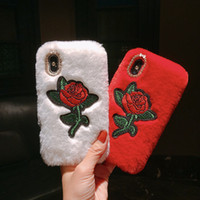 Wholesale rabbit fur note case for sale – best Rabbit Hair Case Bling Diamond Fluffy Animal Fur Cover With Embroidered For Iphone X XR XS MAX Plus