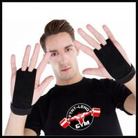 handschuhe loch großhandel-Kunstturnen Protective Palms Echtes Leder Sporthandschuh Zwei Löcher Gewichtheben Schutzhandschuhe Fitness Zubehör Heißer Verkauf 16hs Ww