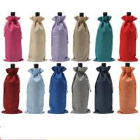 hochzeit flasche verpackung groihandel-Weihnachten Wein Abdeckung Multicolor Champagner Flasche Blind Verpackung Geschenk Taschen Staubdicht Kordelzug Jute Tasche Hochzeit Tisch Dekor 2 2sy YY