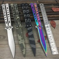 Wholesale Dull Knife - Titanium Rainbow color 5Cr13Mov Stainless Steel knife Butterfly Training Knife butterfly knife balisong dull tool no edge