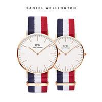 часы пояса нейлон оптовых-Топ моды Даниэль Веллингтон мужские и женские ультратонкие водонепроницаемые женские кварцевые часы с простой нейлоновый ремень часы Relogio Masculino