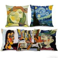 tablo yastık kılıfları toptan satış-Pablo Picasso Ünlü Resimleri Yastık Yıldızlı Gece Sürrealizm Kapakları Soyut Sanat Minder Örtüsü Bej Keten Yastık Kılıfı Yatak Odası Dekor