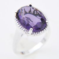 Wholesale Ring Amethyst 925 - Time-limited Real Wedding Rings 5pcs lot Wholesale Holiday Jewelry Gift free Shipping Oval Amethyst Gems 925 Sterling Silver Ring R0347