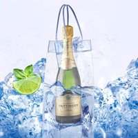 Wholesale wine bags coolers wholesale - Durable Clear Transparent PVC Champagne Wine Ice Bag Pouch Cooler Bag with Handle Free DHL 210