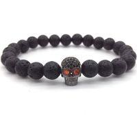 Wholesale skeleton head bracelet - 2018 Hot Fashion Trendy Skeleton Charm Bracelet For Men Women CZ Skull Head Men Bracelet Lava Stone Jewelry Gift