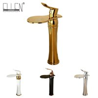Wholesale Gold Sink Mixer - Bathroom products soild brass gold finish sink faucet single lever black waterfall tap tall water mixer torneira banheiro