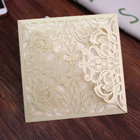 Wholesale new wedding invitations - Gold wedding invitation shimmer flora laser cutting custom wedding anniversary party invitation card multi colors free ship