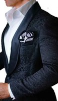 Wholesale best blazers men - High Quality One Button Black Paisley Groom Tuxedos Groomsmen Shawl Lapel Best Man Blazer Mens Wedding Suits (Jacket+Pants+Tie) H:968